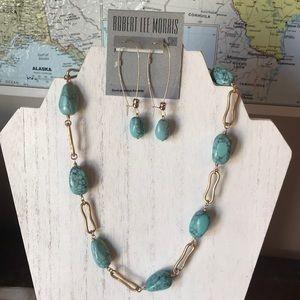 Robert Lee morris turquoise earring necklace set